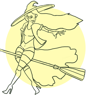 Wicked Witch - Uncolored line-art thing. by emilybunnysoft