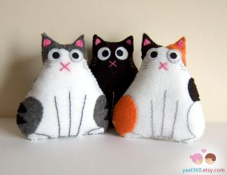 Trio of fat cats: black, tabby and white, and cali by yael360