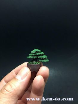 Micro flocked wire bonsai tree by Ken To by KenToArt