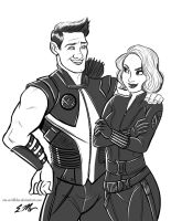 Clint and Natasha by em-scribbles