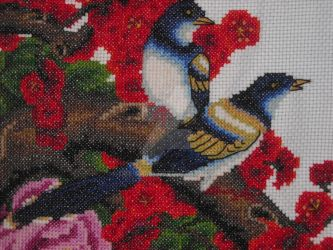 Finished Birds in Plum Blossoms 1 by Dee-sama