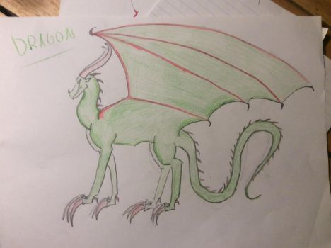 Colored Red and Green Dragon by Raventhenightwing