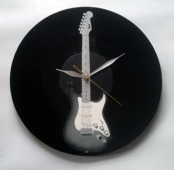 guitar on vinyl record clock by vantidus