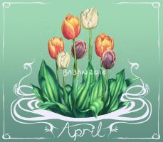 April Tulips by BabaKinkin