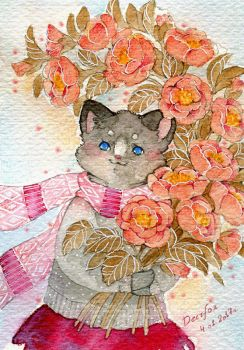 Cat With Flowers by deerfox-art
