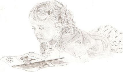 little girl reading by almostexpelled