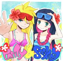 Panty and Stocking in summer by LoveSoup
