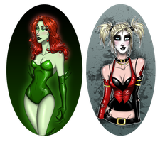 Harley and Ivy doodles by ScillaVega