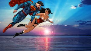 Superman/Wonder Woman Sunrise by Xionice