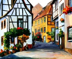 Germany - Town On The Hill by Leonid Afremov by Leonidafremov