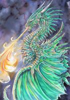Emarld Dragon by dawndelver