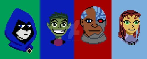 Teen Titans Pixel Art by DanRussell93