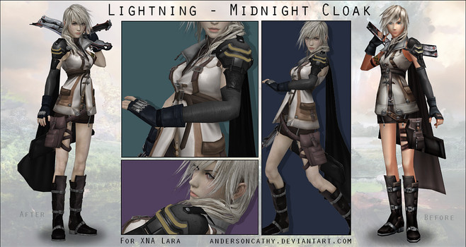 Dissidia Midnight Cloak (Lightning) - XNA Model by andersoncathy