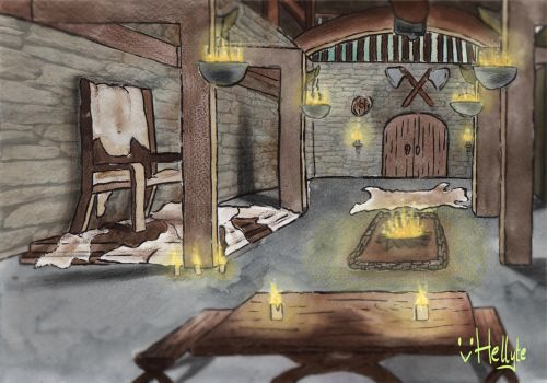 Viking Hall concept art by Hellyte