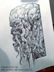 Cthulhu drawing WIP by TentaclesandTeeth