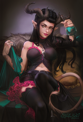 Commission: Tiefling by AmberHarrisArt