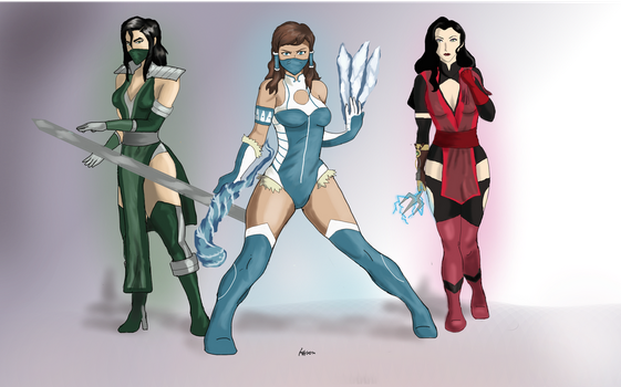 Korra, Kuvira and Asami in Mortal Kombat by KelsonK