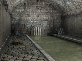 Medieval gothic Sewer- Background by BrianFP