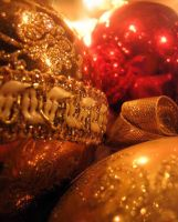 Golden Christmas Ornaments by Clairic