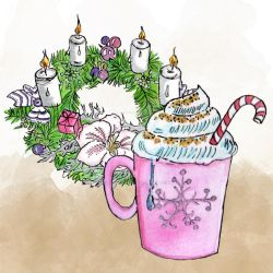 Hot Chocolate And Wreath Colour Clipart by GirlinDesign
