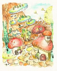 Mushroom Village by supperfrogg