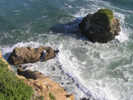 California Cliff Edge Churning Water And Islands by seancfinnigan