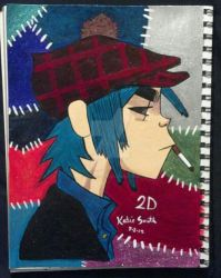 2ed 2D of Gorillaz Nail Polish art phase 2 by SpookyKatie