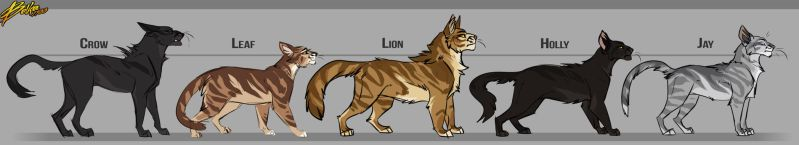 Crowfeather x Leafpool's family by Belka-1100
