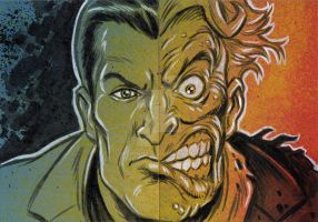Two-Face Harvey Dent Sketch Cards by timshinn73