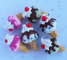polymer clay ice cream cone charms by ScrumptiousDoodle