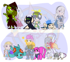 Assorted Chibis - Witchy Good Time by Dragon-FangX