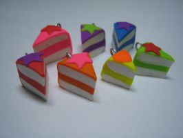 7 Rainbow Cake Charms 4 of 8 by Skookyspry-Creations
