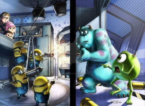 MINIONS vs MONSTER INC (colored) by grandizer05