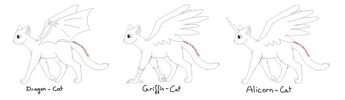 Fantasy Cat Linearts [free to use] by Nahemii-chan