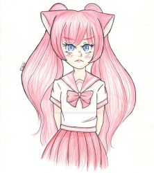 Neko girl - Not-so-happy reddish-pink by Lady-Rosa-chan