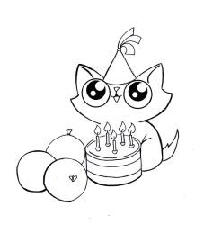 Funny cat birthday line art 2 by KingZoidLord