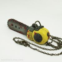 Bloody Chainsaw Necklace by True-Crimeberry