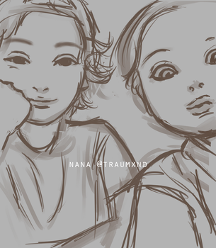 [quick sketch] Finn and Millie by traumxnd
