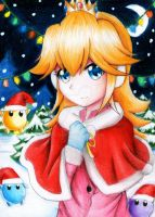 princess peach-christmas night by L-Gabs