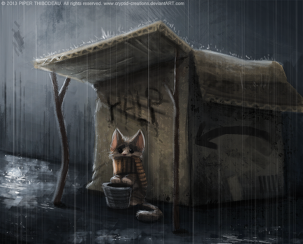 DAY 236. Homeless Kitty by Cryptid-Creations