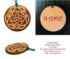CELTIC KNOT 2 pyrography keychain with your name by YANKA-arts-n-crafts