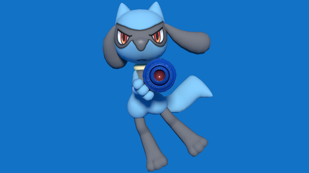 Riolu with a Mega Buster by kuby64