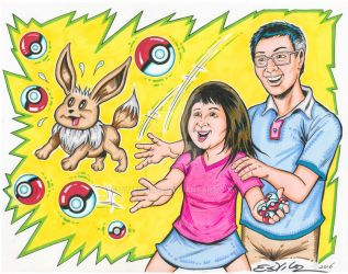 Pokemon Go - Commissioned Art for Comic Con fan by TimEstiloz