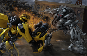 Bumblebee Vs Blackout by CptDecaf
