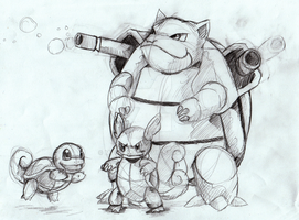 Squirtle Evolution Rough Sketch by MizyThang