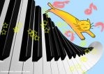 Jumping Music Cat (Postcard) by AIRanimechiic