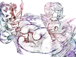 Mettaton and Muffet by UndyneStrongFish