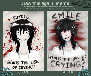 [Draw this again]- JEFF THE KILLER (2015 vs. 2016) by Kaureshi