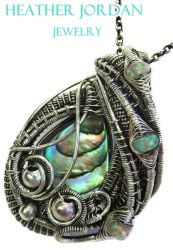 Abalone Pua Shell Wire-Wrapped Pendant in SS by HeatherJordanJewelry