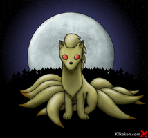 Ninetales and Moon for DarkLightDragon by KilkakonOfficial